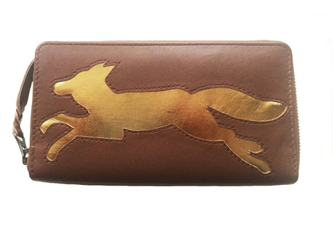 Brown Leather Fox Cut Out Purse