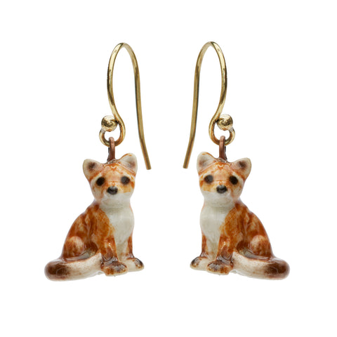 Sitting Fox Drop Earrings