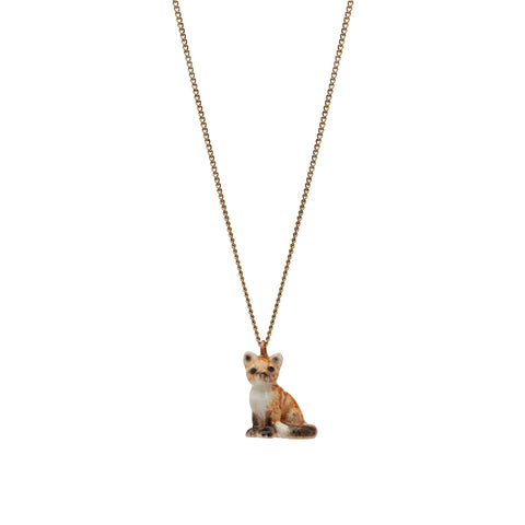 Tiny Sitting Fox Necklace