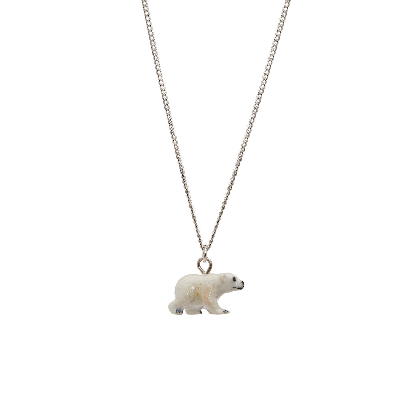 Tiny Walking Polar Bear Necklace