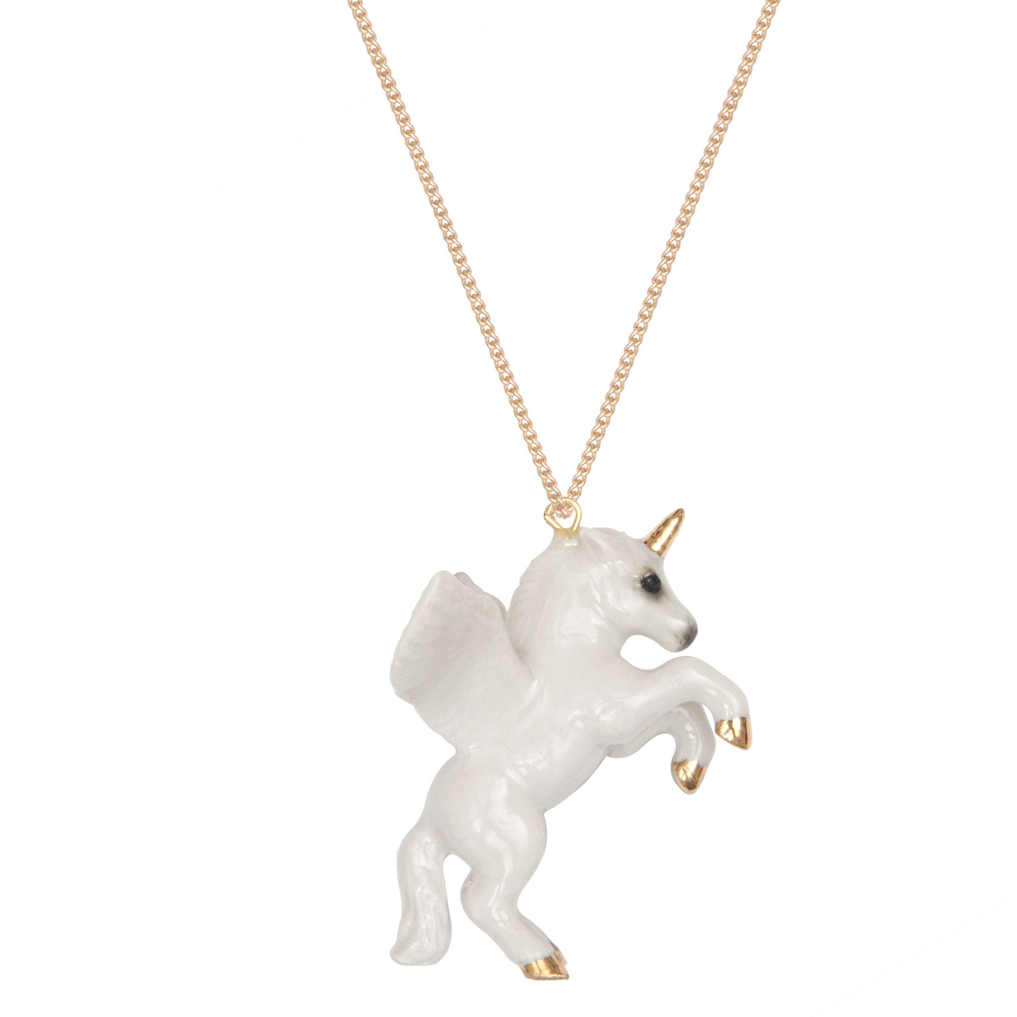 Flying White Unicorn Necklace
