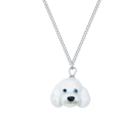 White Poodle Head Necklace