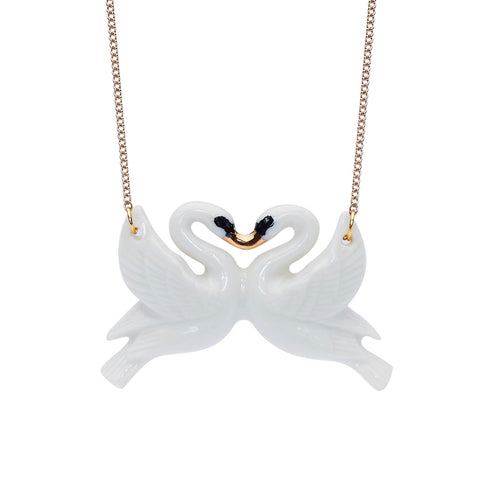White and Gold Kissing Swans Necklace