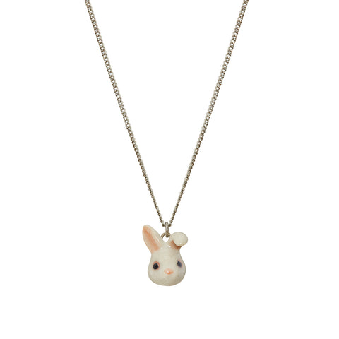 Cute White Bunny Head Necklace