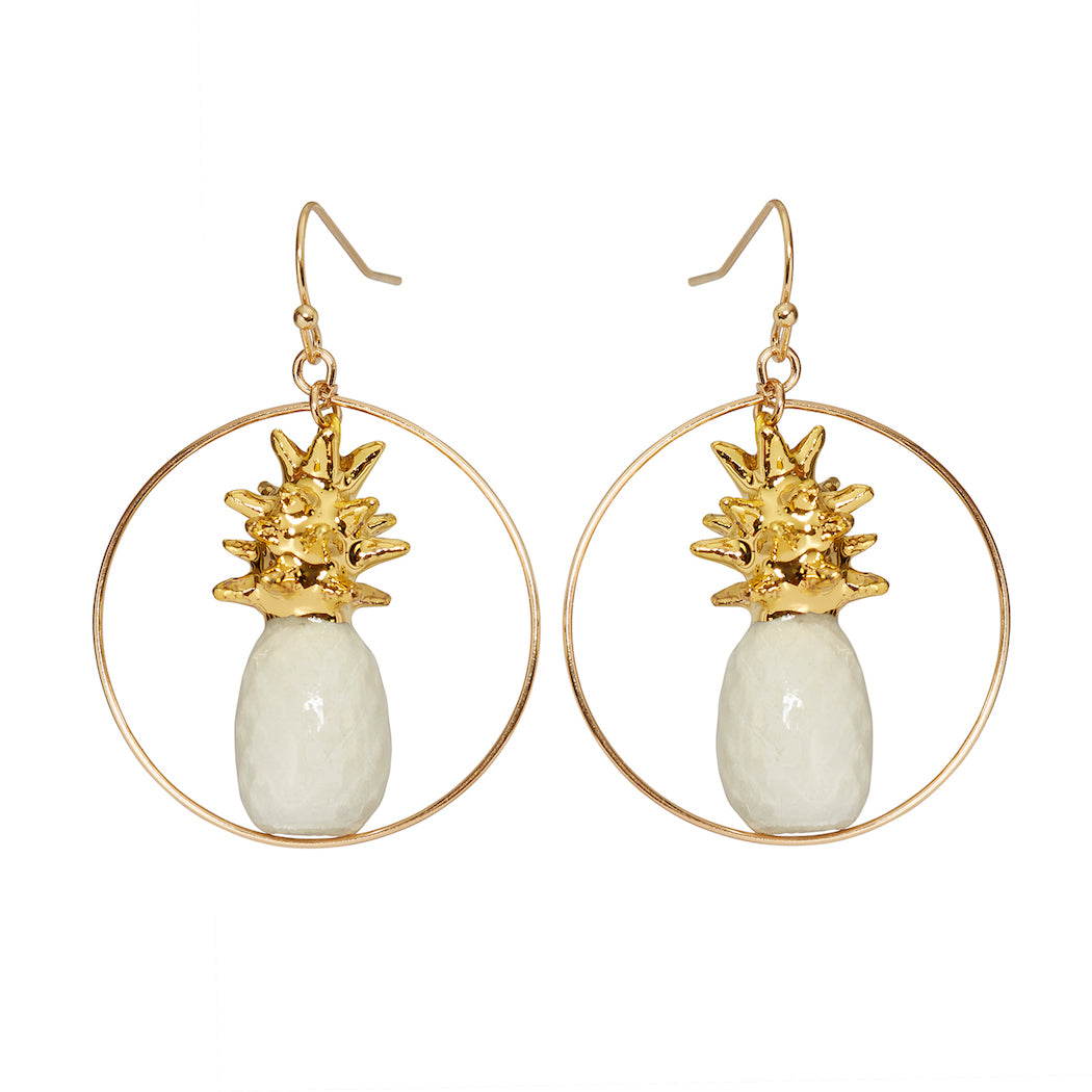 White & Gold Pineapple Round Drop Earrings