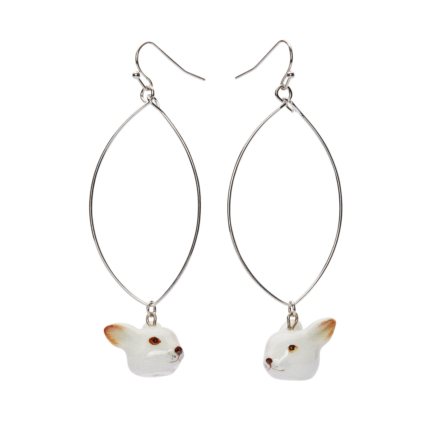 Oval Drop White Rabbit Earrings