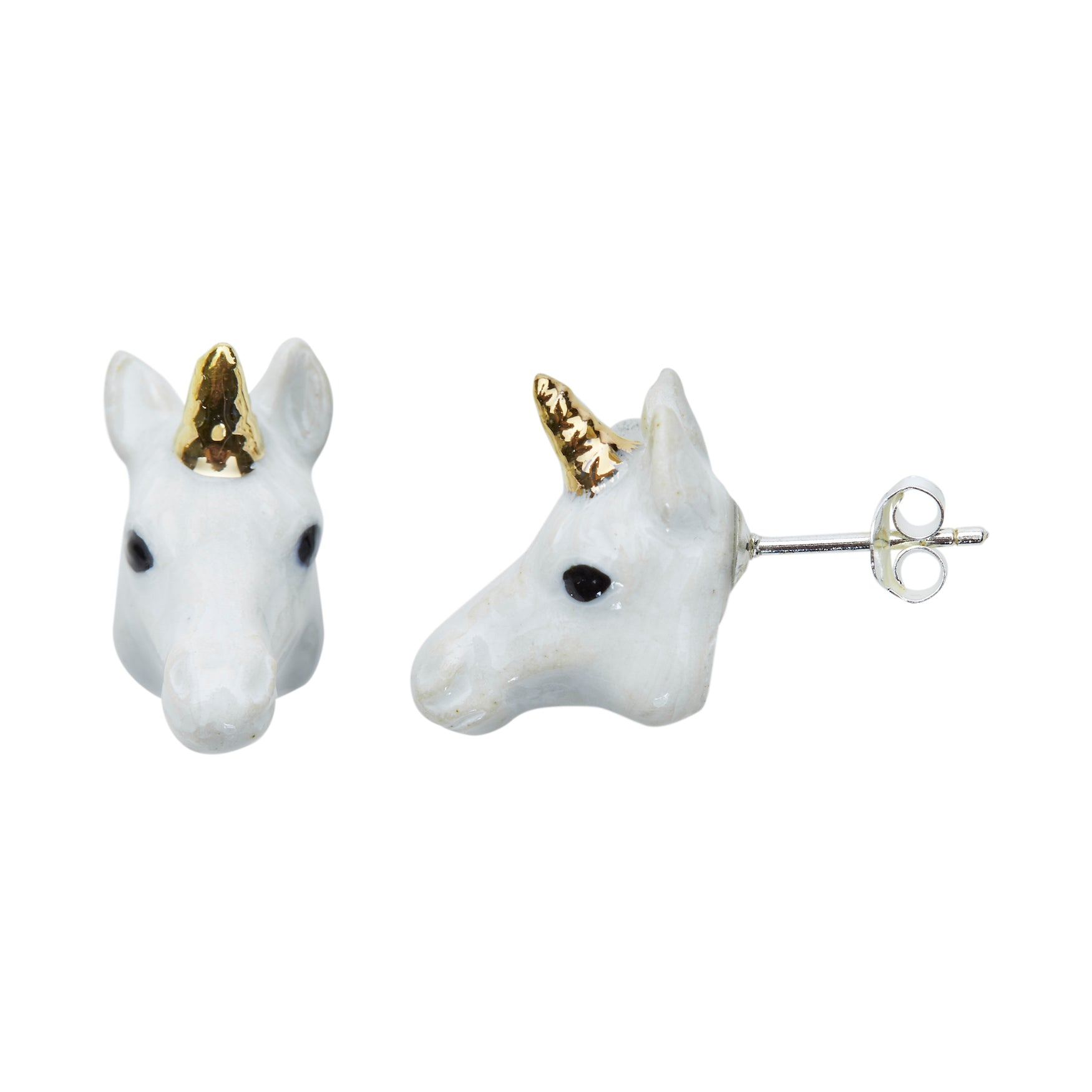 White & Gold Unicorn Head Studs