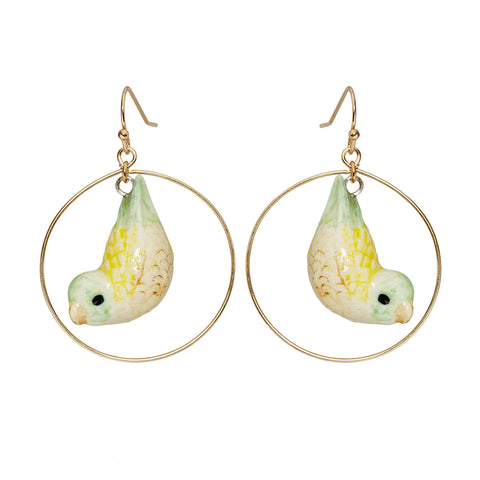 Yellow Parrotlet Round Drop Earrings