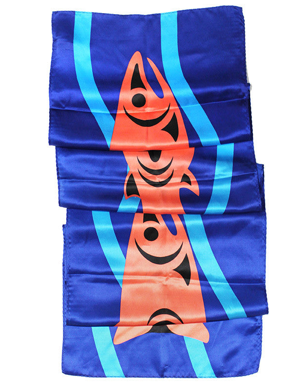 "Silk Scarf 13"" - Respecting our Salmon by Maurice Nahanee"