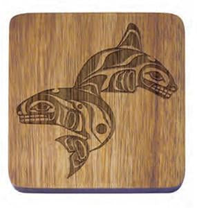 Acacia Wood Serving Set - Whales Coaster Set by Paul Windsor