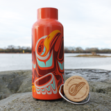 Bamboo Lid Insulated Bottle - Dancing Eagle (Orange)