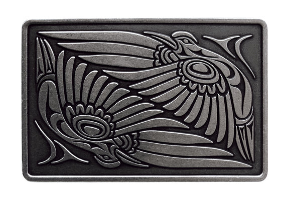 Belt Buckle - Hummingbirds (Antique Silver Finish) by Simone Diamond