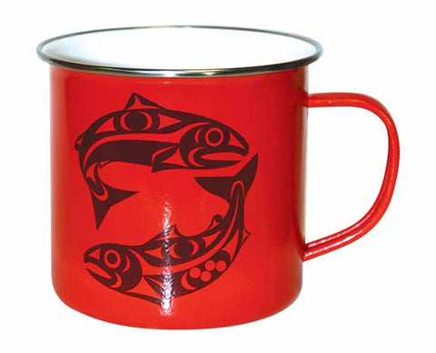 Enamel Mug - Salmon by Maynard Johnny Jr.