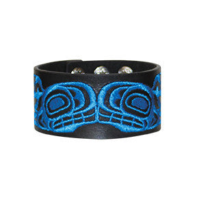 Embroidered Leather Cuff - Orca by Ernest Swanson