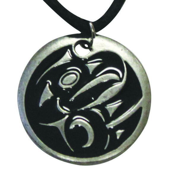Pewter Leather Necklace - Thunderbird by Maynard Johnny Jr