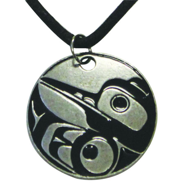 Pewter Leather Necklace - Hummingbird by Eric Parnell