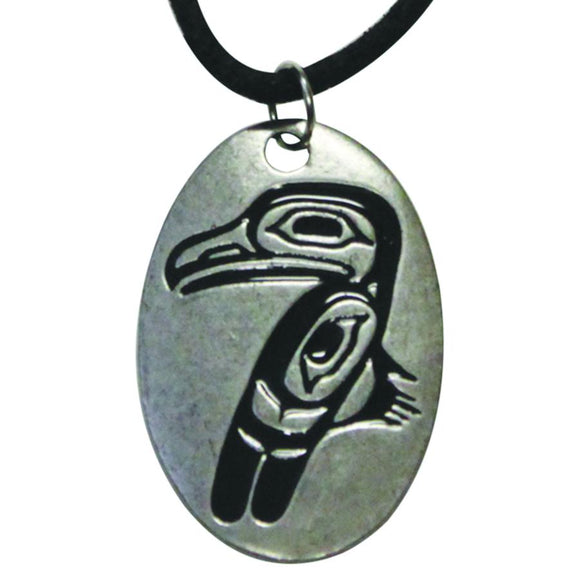 Pewter Leather Necklace - Raven by Allan Weir