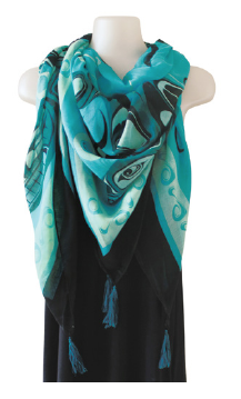 Tapestry Scarf - Orca by Paul Windsor, Haisla, Heiltsuk