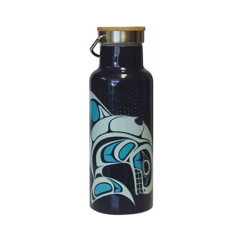 Bamboo Lid Insulated Bottle - Whale (Blue)
