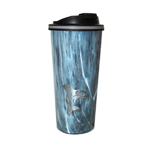 Insulated Travel Mug - Raven Fin Killer Whale by Darrel Amos