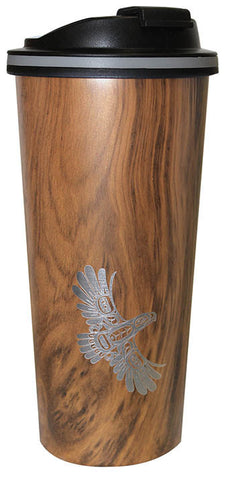 Wood Grain Finish Travel Mug - Eagle's First Flight by Ernest Swanson