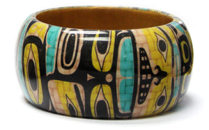 "Wood Bangle 1.5"" - Chilkat Brown Bear by Ryan Cranmer"
