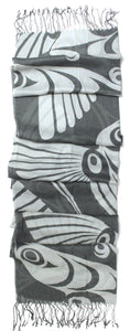 Viscose Scarf - Hummingbird (grey) by Francis Horne Sr