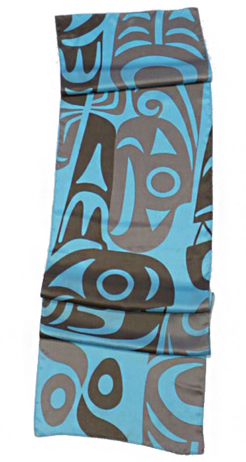 "Silk Scarf 13"" - Whale & Thunderbird by Maynard Johnny Jr"