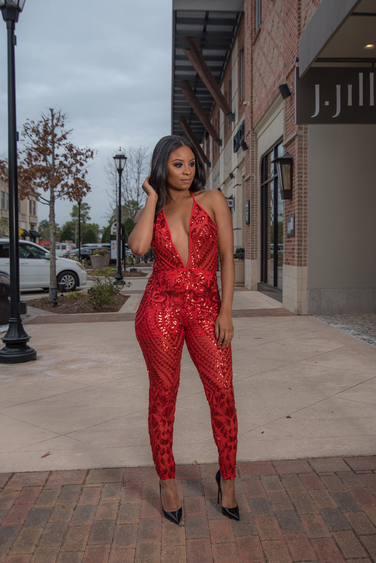 Pretty Vice Jumpsuit-Red
