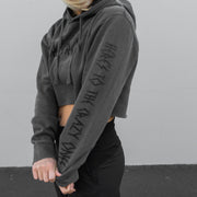 Crop Hoodie - Faded Black
