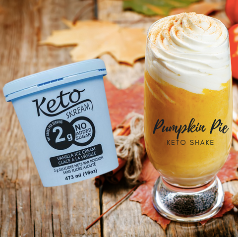 KetoSkream container with pumpkin shake in glass