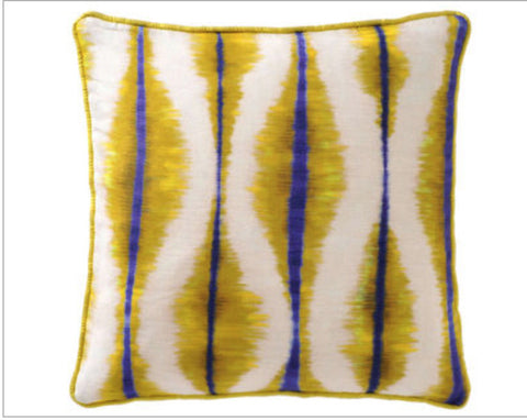 Coban linen and silk cushion in Yellow / Blue