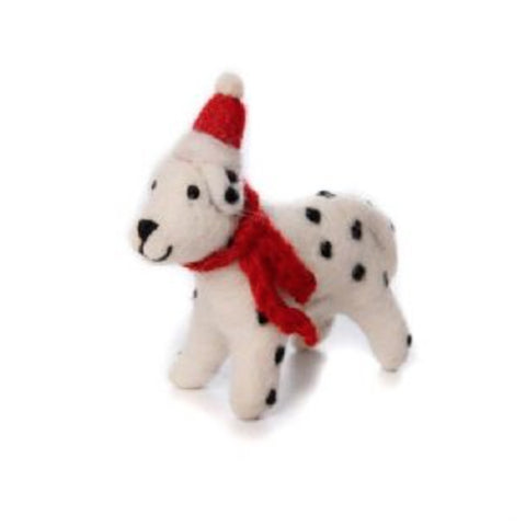 Dippy dalmatian with red bobble hat Christmas Tree Decoration