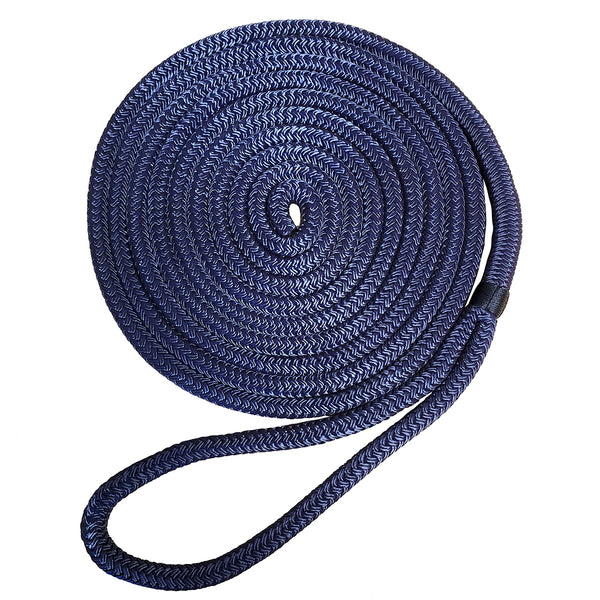 "Robline 3/8"" x 25 Premium Nylon Double Braid Navy Blue Dock Line [7181929]"
