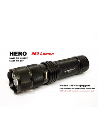 PowerTac Hero - 900 Lumens Rechargeable LED Flashlight