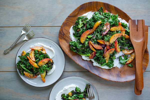 Grilled Kale with Ricotta & Peaches