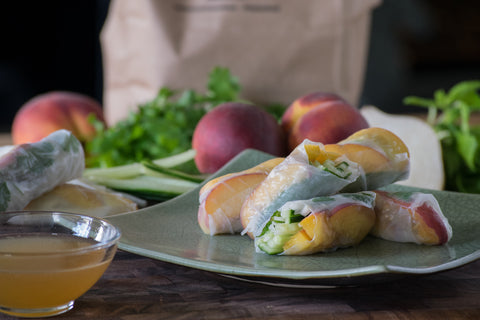 Fresh Peach Summer Rolls