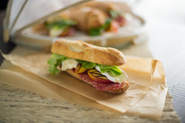 Picnic Hoagies with Chilled Grilled Peaches, Salami and Brie