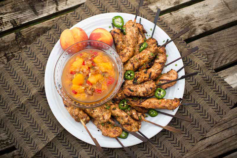 Spicy Jerk Chicken with Peach Chutney