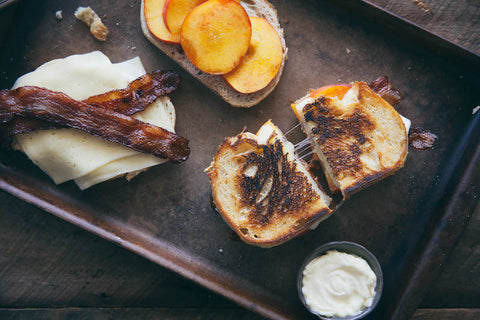 Peach Grilled Cheese with Bacon