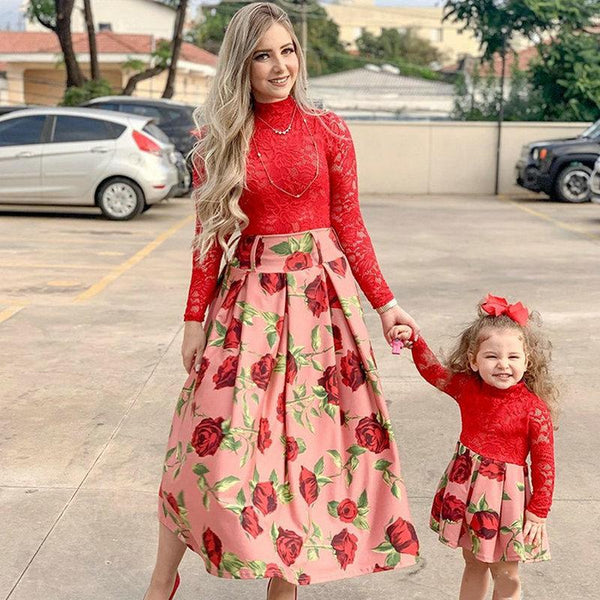 Mommy and Me Red Lace Dress - Mommy Fashion Life