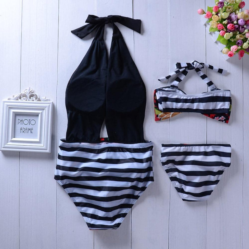 Striped Floral Swimsuit - Mommy Fashion Life