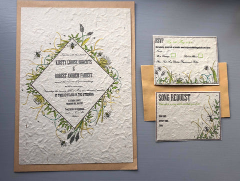 handmade lokta paper wedding stationery