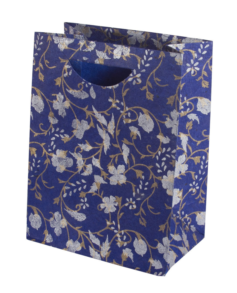 Large Gift Bag - Silver & Gold on Blue - Gift Bag - Anglesey Paper Company