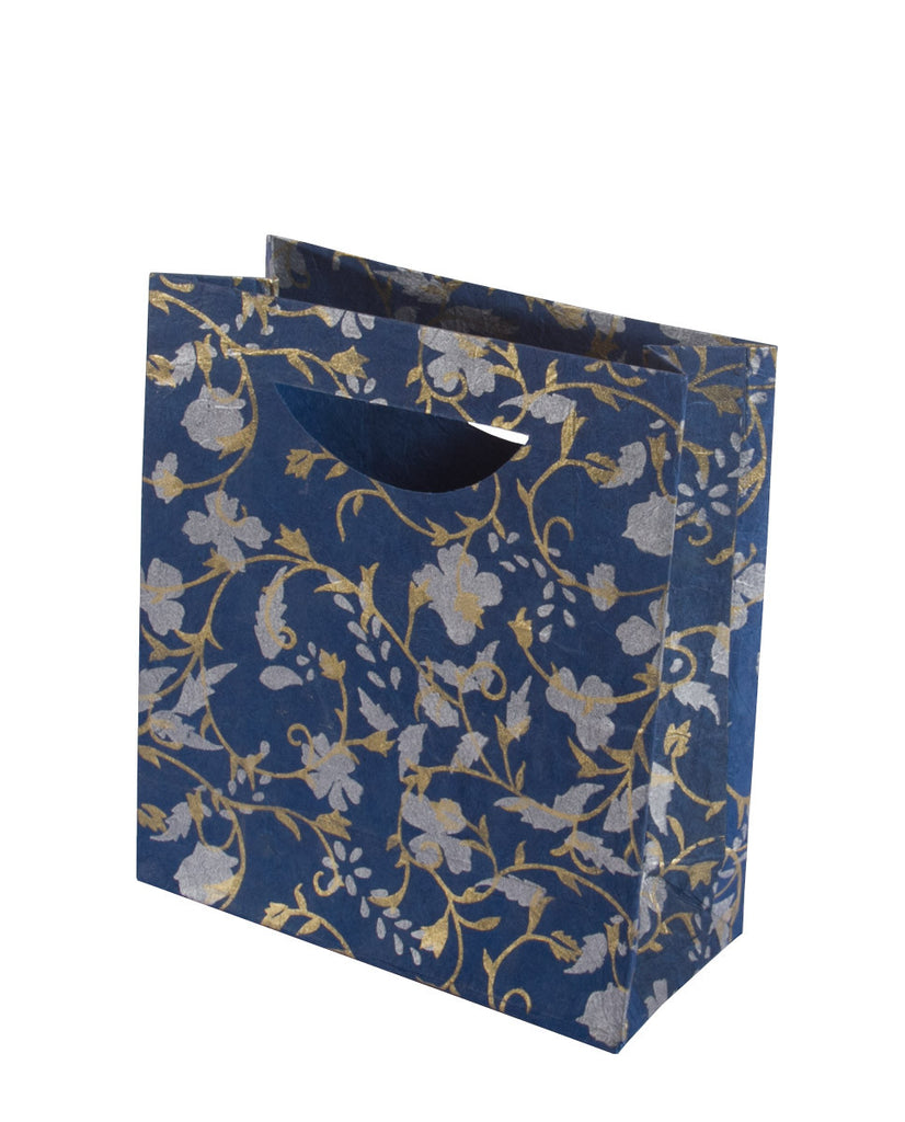 Medium Gift Bag - Silver & Gold on Blue - Gift Bag - Anglesey Paper Company