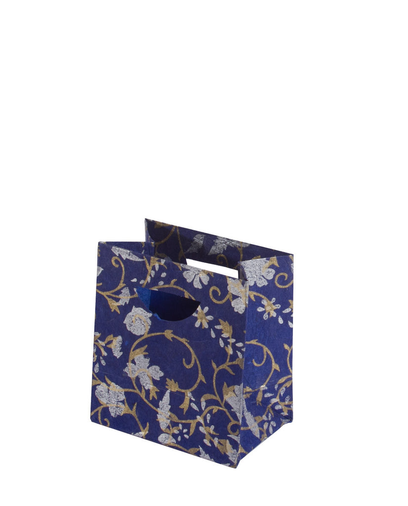 Small Gift Bag - Silver & Gold on Blue - Gift Bag - Anglesey Paper Company