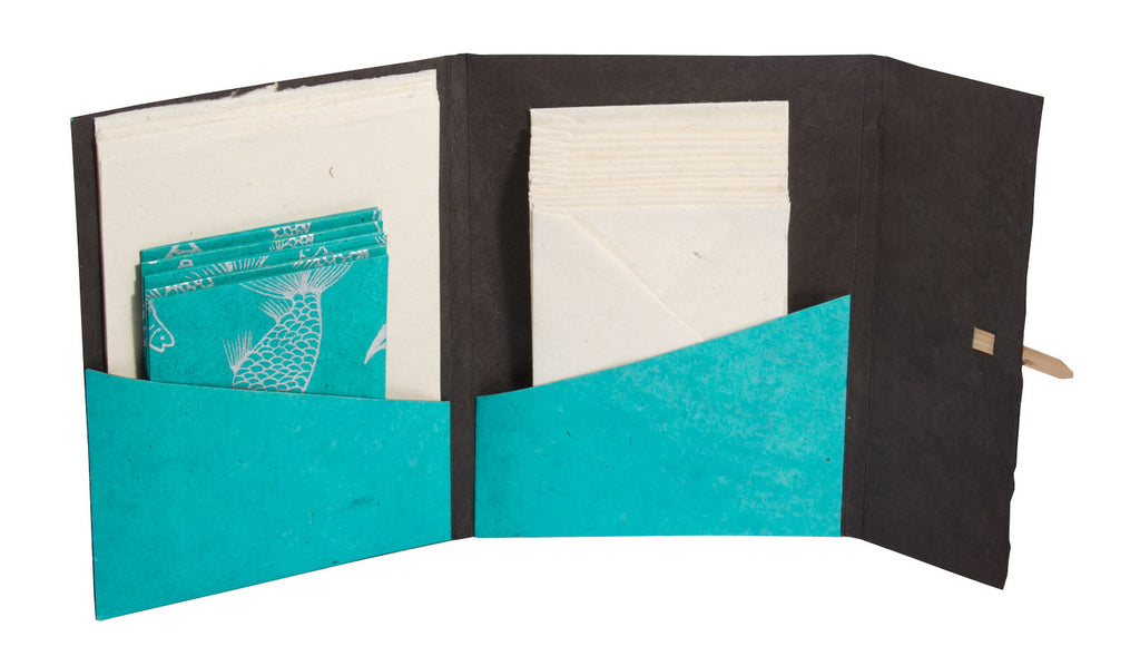 Handmade Lokta Stationery Wallet - Stationery Set - Anglesey Paper Company  - 5