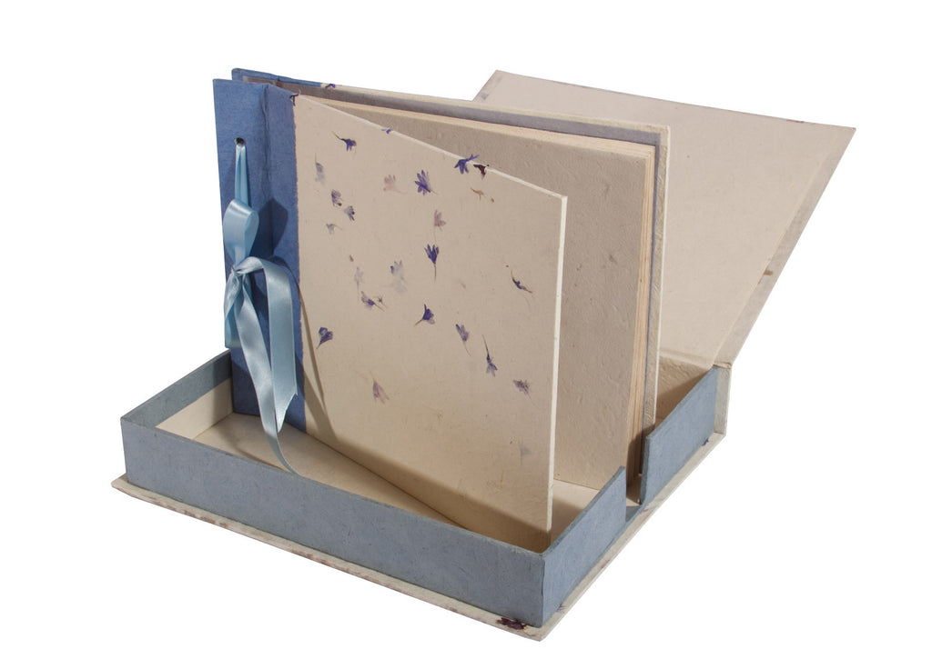 Boxed Photo Album - Cornflower Petals on Natural - Photo Albums - Anglesey Paper Company  - 1