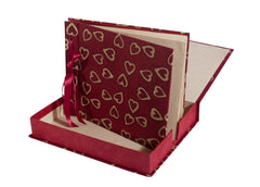 Photo Album Handmade (Boxed) - Batik Hearts - Photo Albums - Anglesey Paper Company  - 1