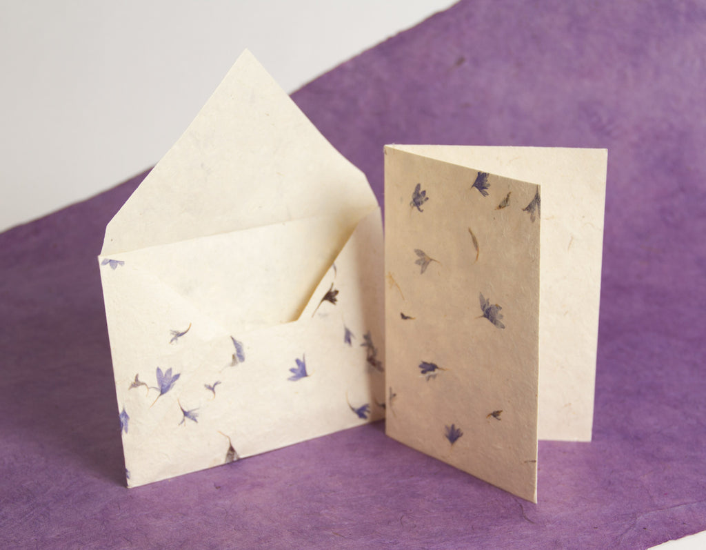 Handmade A6 Lokta Notelets and Envelopes - Pack of 10 sets - Stationery Set - Anglesey Paper Company  - 1